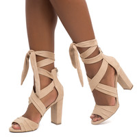 FAUX SUEDE BANDED ANKLE TIE HEEL