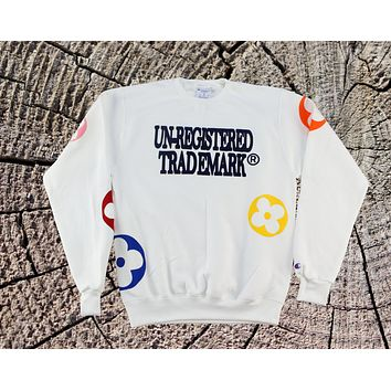 White Crewneck Flower Monogram Sweatshirt x Unregistered Trademark x Champion Brand