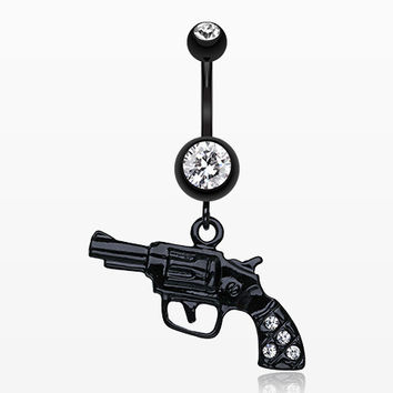Blackline Pistol Gun Sparkle Belly Ring