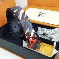 LV Louis Vuitton Popular Men Woman Smooth Buckle Belt Leather Belt(2 Color Buckle)