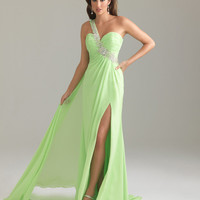 Night Moves by Allure 2012 Prom Dresses - Apple Green Beaded Chiffon One Shoulder Empire Waist Prom Dress