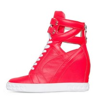 Posh Girl Bright Pink Leather wedge Sneakers