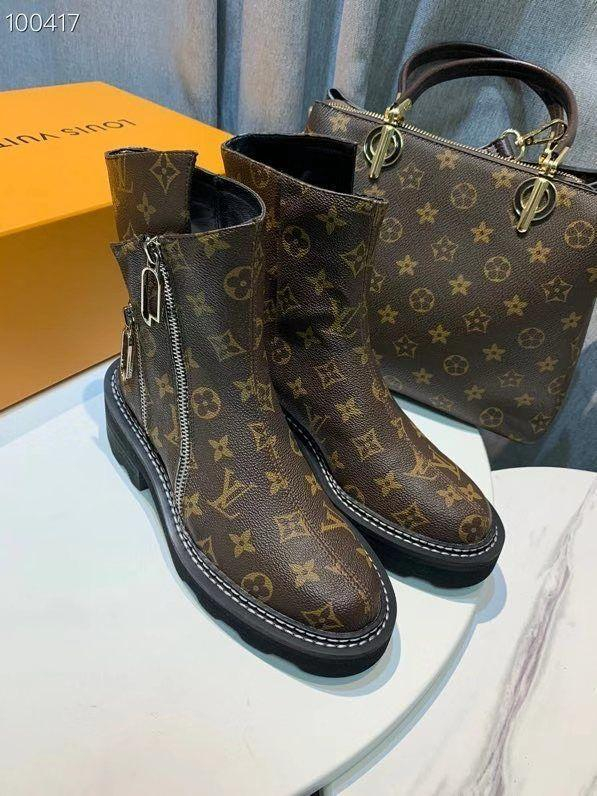 Image of lv louis vuitton trending womens black leather side zip lace up ankle boots shoes high boots 193