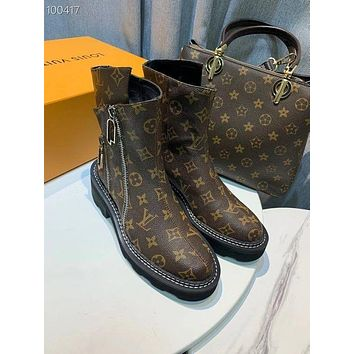 lv louis vuitton trending womens black leather side zip lace up ankle boots shoes high boots 193
