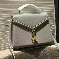 YSL High Quality Women Leather Tote Handbag Shoulder Bag Crossbody Satchel Grey