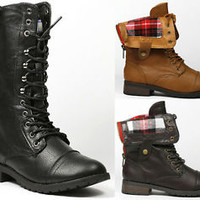 Fold down Plaid Mid-Calf Lace-Up Military Combat Boots REFRESH TERRA-01