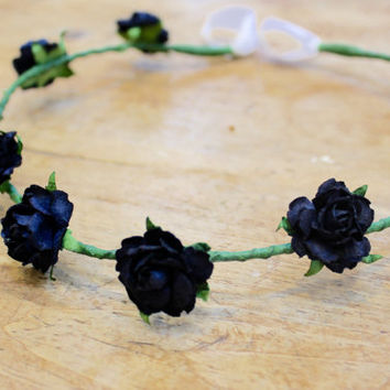 Black flower crown