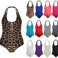 New Womens Halter Neck Backless Jersey Stretchy Bodysuit Leotard Celeb Top 8-14