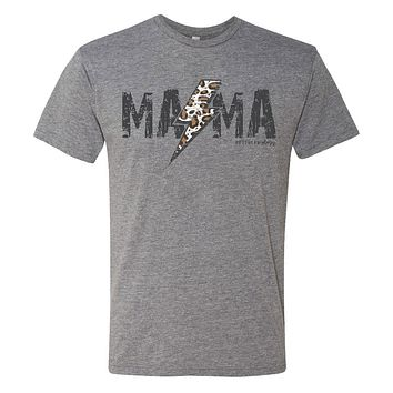 Southernology Statement Collection Mama Leopard Lightning Canvas T-Shirt