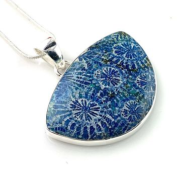 Blue Fossilized Coral Sterling Silver Ancient Garden Pendant