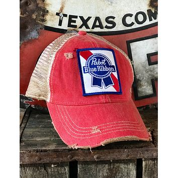 Pabst Blue Ribbon Distressed Hat- Washed Red