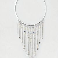 AEO Women's Beads & Fringe Collar Necklace (Silver)
