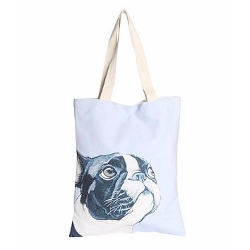 Frenchie Blue Canvas Bag