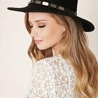 Wide-Brim Studded Wool Fedora | Forever 21 - 2000152442