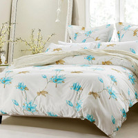 6pc Floral Blue Taupe Bedding Set-Includes Comforter and Duvet Cover - Style # 1020 C- Cherry Hill Collection