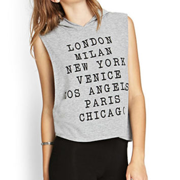 FOREVER 21 Big City Hooded Tank Heather Grey/Black