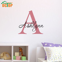 DCTOP Customized Personalized Name A-Z Alphabet Wall Sticker Removable Vinyl DIY Wall Decals For Children Bedroom Decoration