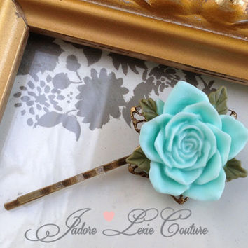 Trendy Fall Color, Mint Rose, Flower, Filigree, Beautiful Bobby Pin, Womens Accessories, Vintage, Hair Pin, Hair