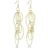 Eccentric Multi-Oval Gold Tone 4 Inch Dangle Drop Earrings
