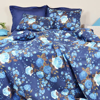 Navy Blue Floral Duvet Cover Set in Full  Queen King Size - Turquoise Blue Rose Print Pure Cotton Sateen Fabric - Floral Shabby Chic Bedding