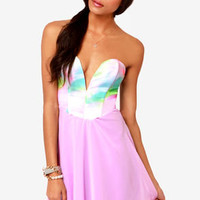 Remix and Match Strapless Lavender Print Dress