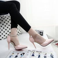 Spring New Pointed High-heeled Shoes Pink Pearls Wild Shoes Nightclubs Single Buckle Shoes Women's Sandals Ladies Summer Pumps