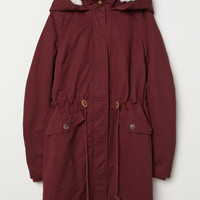 Padded Parka with Hood - Burgundy - Ladies | H&M US
