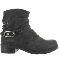Coolway Glory - Black Leather Stud Embellished Bootie
