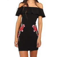 Sexy off shoulder ruffle women dress
