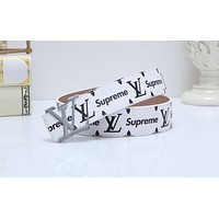 Lv x Supreme hot-selling color-matched men's and women's belts White Belt + Silver