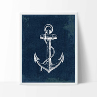 Nautical Anchor Art Print, Navy Nursery Decor, Nautical Art, Travel Poster, Beach House Decor, Nautical Home Decor P-014