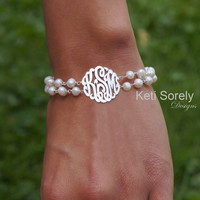 Double String Monogram Initials Bracelet With Fresh Water Pearls - Small To Large Initials (order any Initials) - Sterling Silver