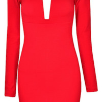 Noah Plunge Long Sleeve Body-con Dress - More Colors