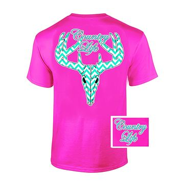 Country Life Outfitters Pink Chevron Deer Skull Head Hunt Vintage Bright T Shirt
