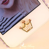 1PC colorful crown  rhinestone /Bling  Crystal Frame iPhone Home Button Sticker for iPhone 4,4s,4g, 5 & iPad, Phone Charm