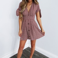 Never Forget Me Dress: Burgundy/Ivory