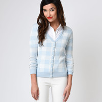 Collectif 1950s Style Blue & White Gingham Emily Knit Cardigan