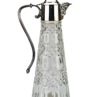 Silver Plated Glass Wine Jug by Falstaff, Vintage English 1960s