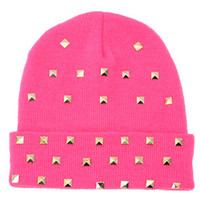 MARIALIA Hot Pink Beanie with Studs : Karmaloop.com - Global Concrete Culture