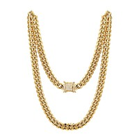 """Men's Stainless Steel 12mm Miami Cuban Link 14k Gold Finish Chain 24"""" Designer out new Lock"""