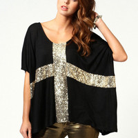 Cross Pattern Sequined Half Sleeve T-shirt