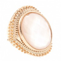 Esme's Large Oval White Stone Gold Cocktail Ring
