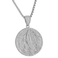 Praying Hands Pendant Round Iced Out Stainless Steel Necklace Rhodium Plate Sale