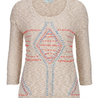 3/4 Sleeve Embroidered Front Sweater - Multi