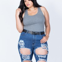 Plus Size Torn and Destroyed Bermuda Shorts