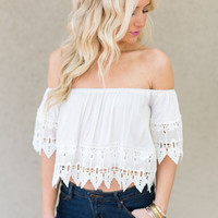 Sea Breeze Crochet Hem Top