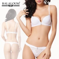 Push Up Sexy Bra Set Women Pure White Wedding Underwear Diamond Lingerie Balaloum Brand Lace Bras High-end Quality Intimates VS