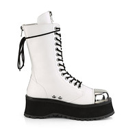 Grave Digger 14 White Chrome Toe Men's Goth Platform Boot