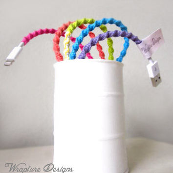 Wrapped 8-Pin iPhone 5 / iPod Touch Lightning USB Cable Charger  'Rainbow Connection' By Wrapture Designs