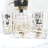 Vintage Poor and Drink Mixer Cocktails Set Tumblers and Shots Glasses Black and Gold  Mad Men Style